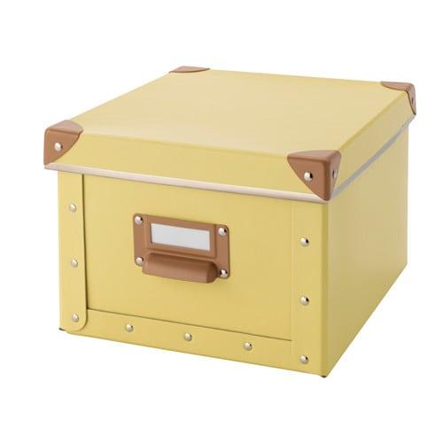 Fj lla bo te avec couvercle jaune 22x26x16 cm ikea - Boite a cles ikea ...