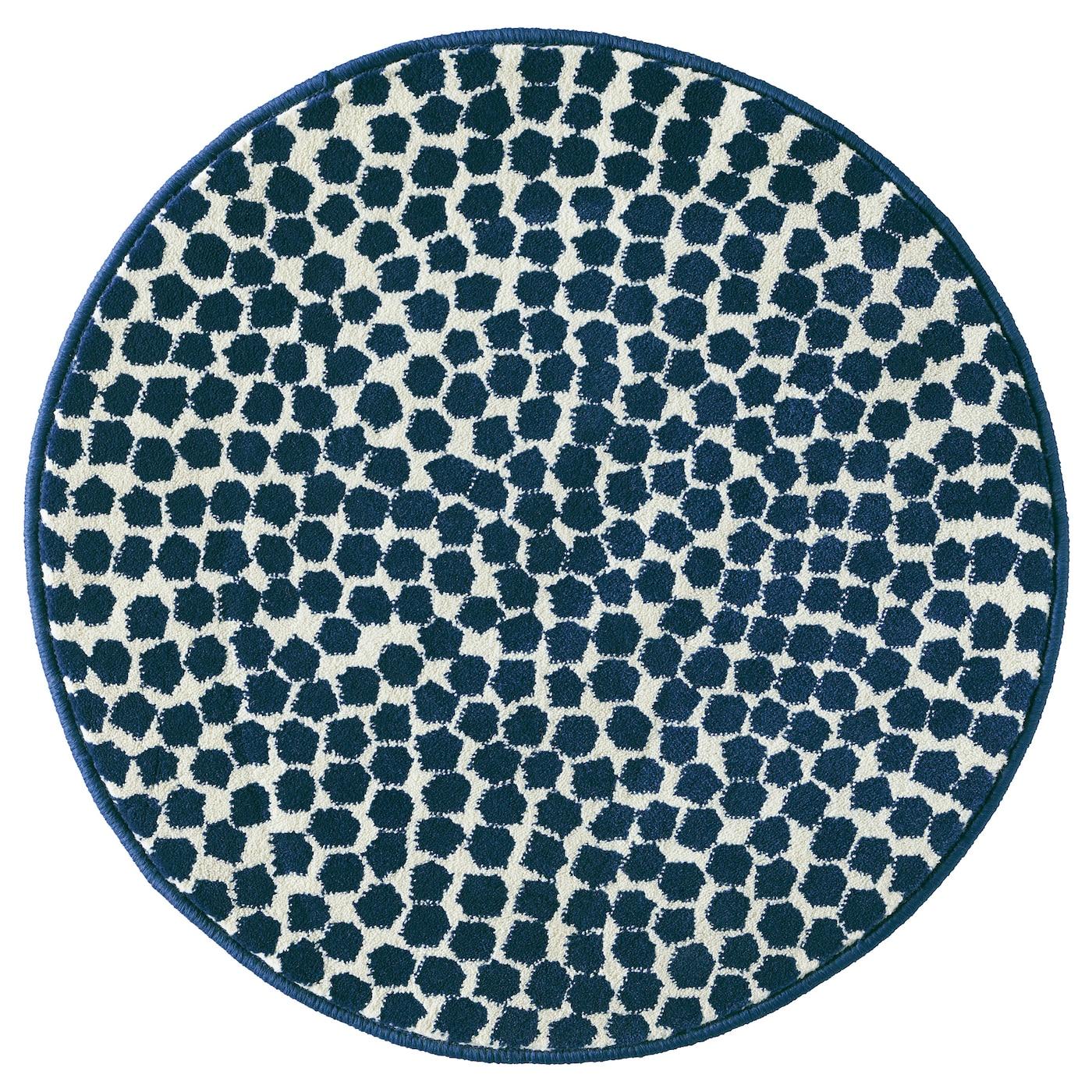 fl ng tapis poils ras blanc bleu fonc 80 cm ikea. Black Bedroom Furniture Sets. Home Design Ideas