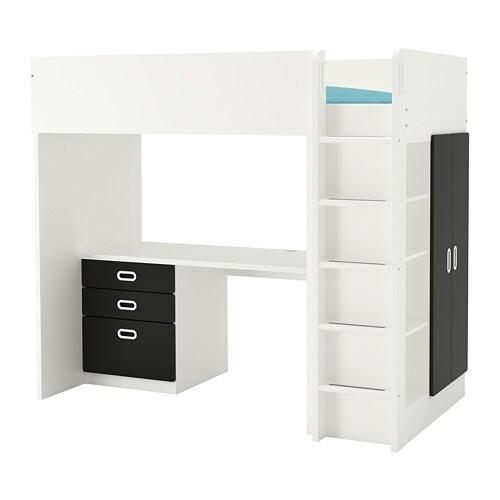 fritids stuva combi lit mezz 3 tir 2 ptes blanc surface tableau noir 207 x 99 x 182 cm ikea. Black Bedroom Furniture Sets. Home Design Ideas