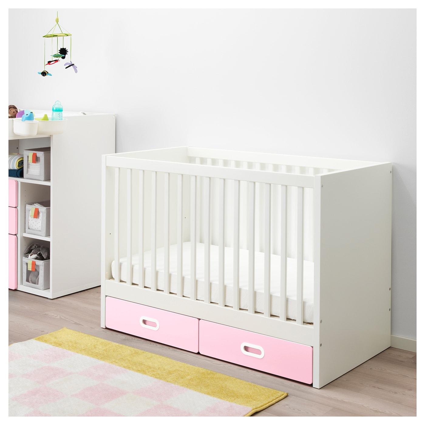 fritids stuva lit enfant tiroirs rose clair 60 x 120 cm ikea. Black Bedroom Furniture Sets. Home Design Ideas