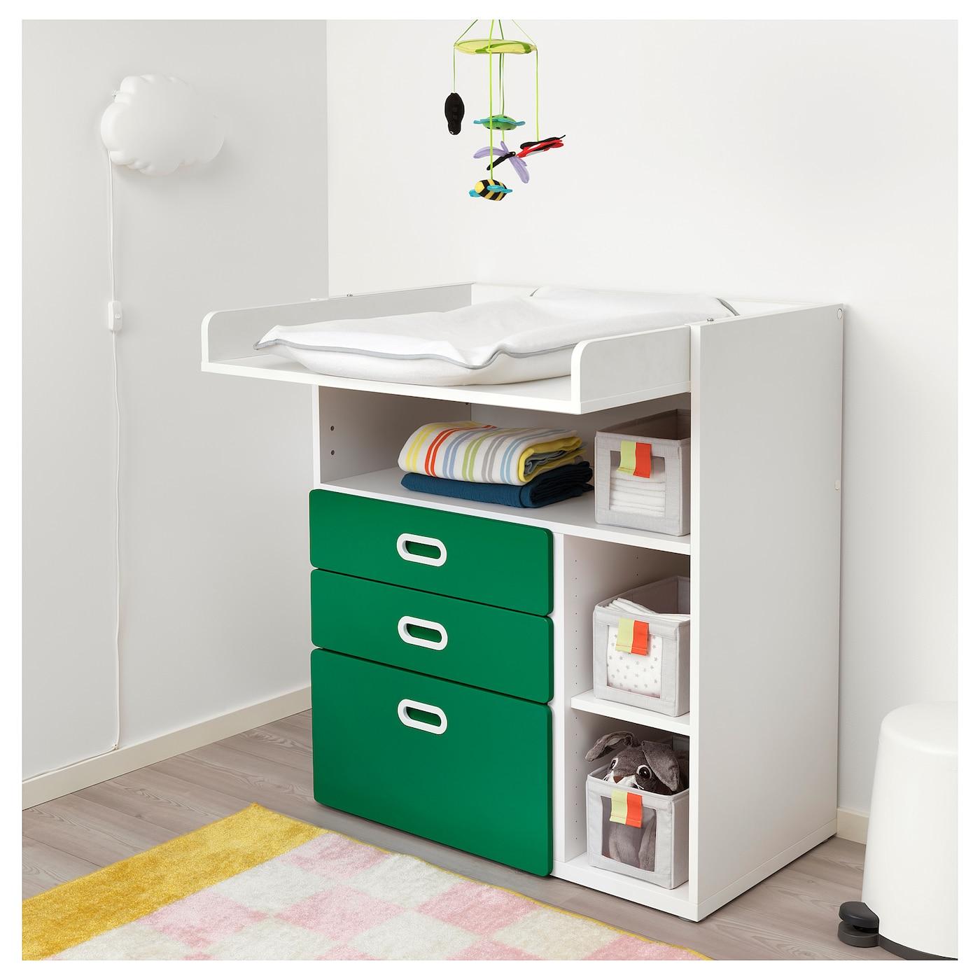 Fritids stuva table langer tiroirs blanc vert 90 x 79 x - Table a langer ikea ...