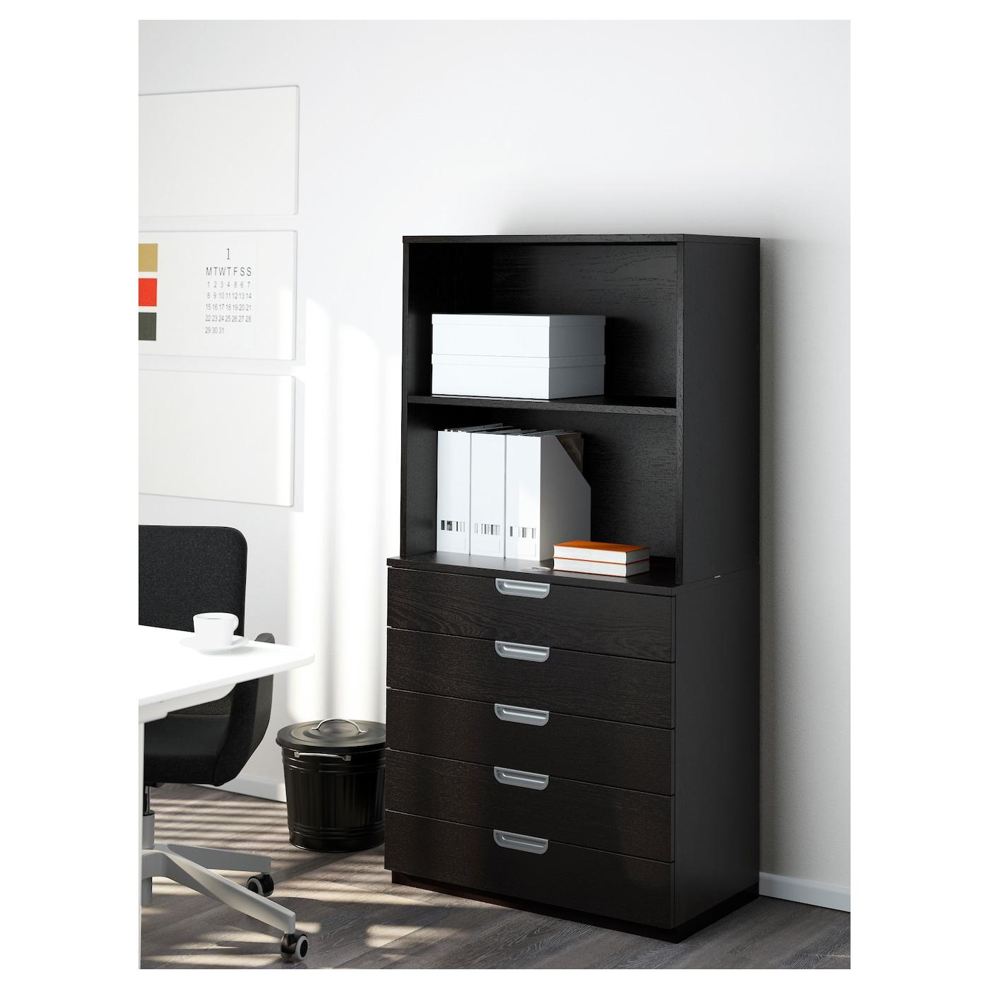 Galant combinaison rangement tiroirs brun noir 80x160 cm for Rangement bureau noir