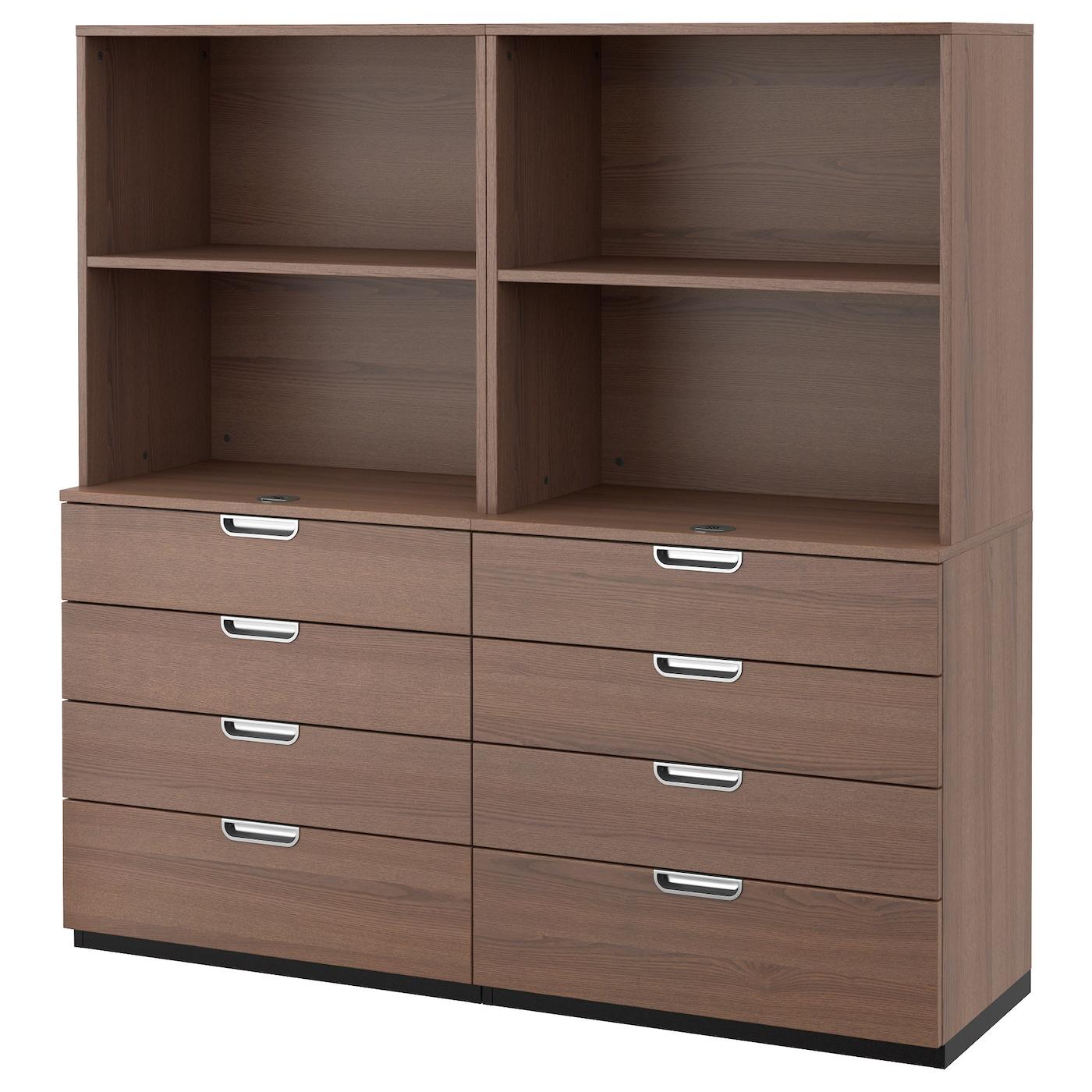 Galant combinaison rangement tiroirs gris 160 x 160 cm ikea for Bureau ikea avec tiroir classeur
