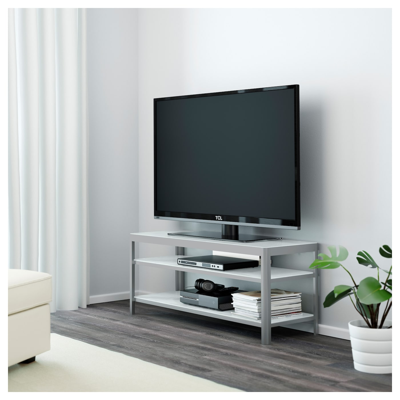 gettorp banc tv blanc aluminium 120 x 40 x 49 cm ikea. Black Bedroom Furniture Sets. Home Design Ideas