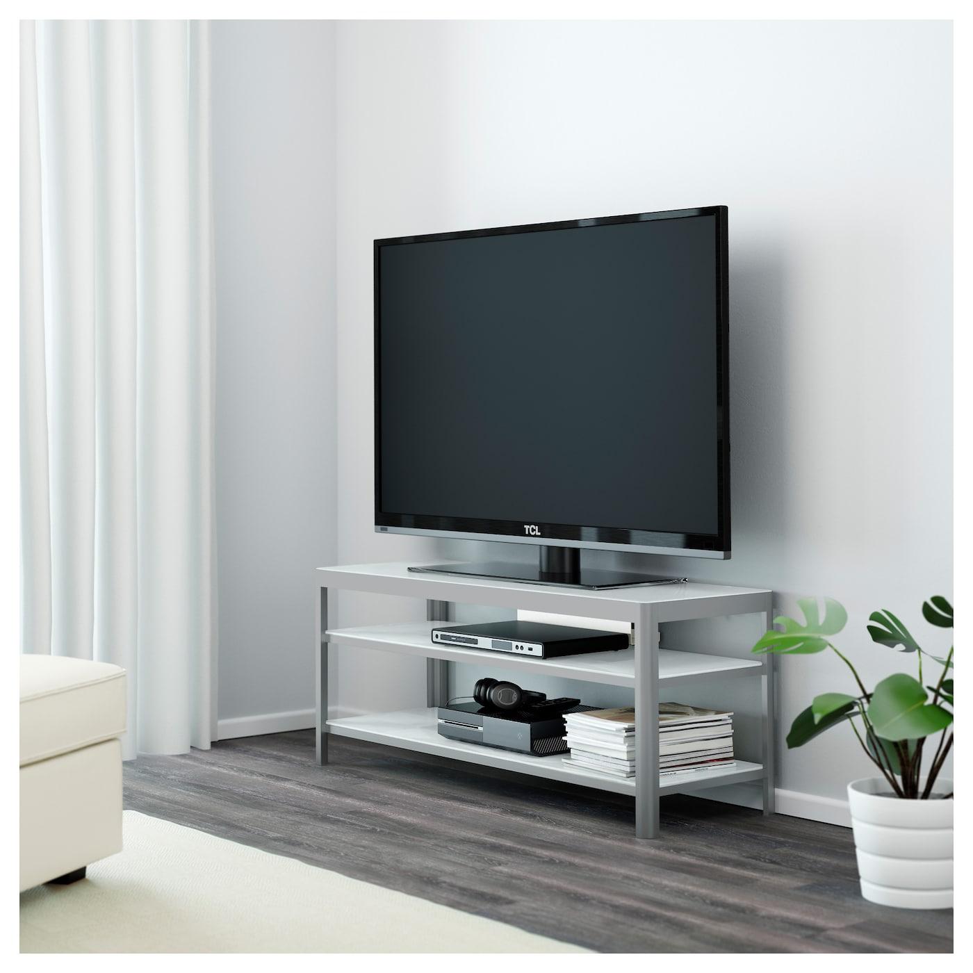 Gettorp Banc Tv Blanc Aluminium 120×40 Cm Ikea # Meuble Tv Blanc Dessus Verre Trempe