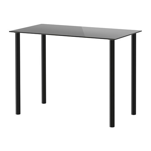 Glasholm adils table verre noir noir ikea for Table verre ikea