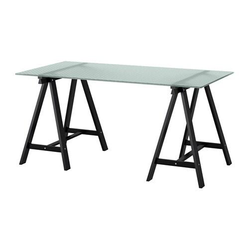 Glasholm Oddvald Table Verre Motif Nid D Abeille Noir 148 X 73 Cm Ikea