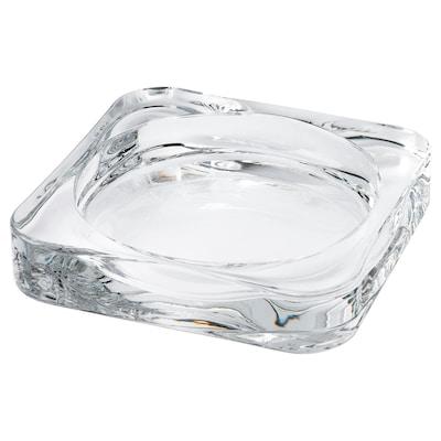 GLASIG Plat pour bougie, verre transparent, 10x10 cm