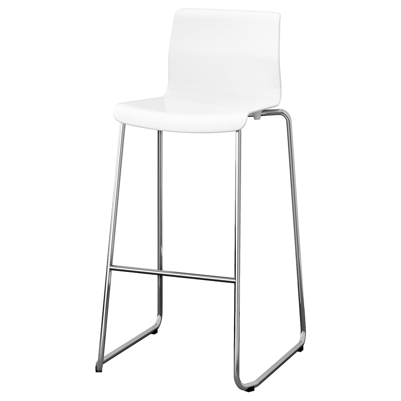 glenn tabouret de bar blanc chrom 77 cm ikea. Black Bedroom Furniture Sets. Home Design Ideas
