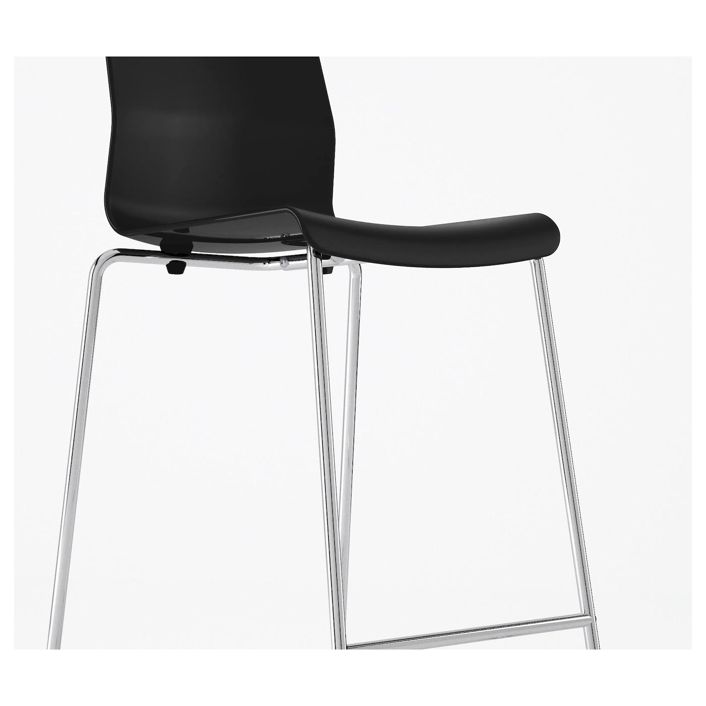 glenn tabouret de bar noir chrom 66 cm ikea. Black Bedroom Furniture Sets. Home Design Ideas