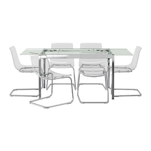 Glivarp tobias table et 6 chaises ikea for Chaise en verre transparente