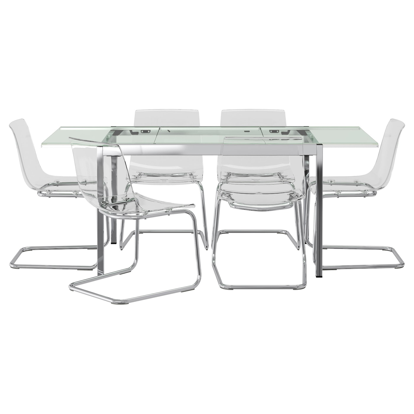 glivarp tobias table et 6 chaises transparent transparent 188 cm ikea. Black Bedroom Furniture Sets. Home Design Ideas