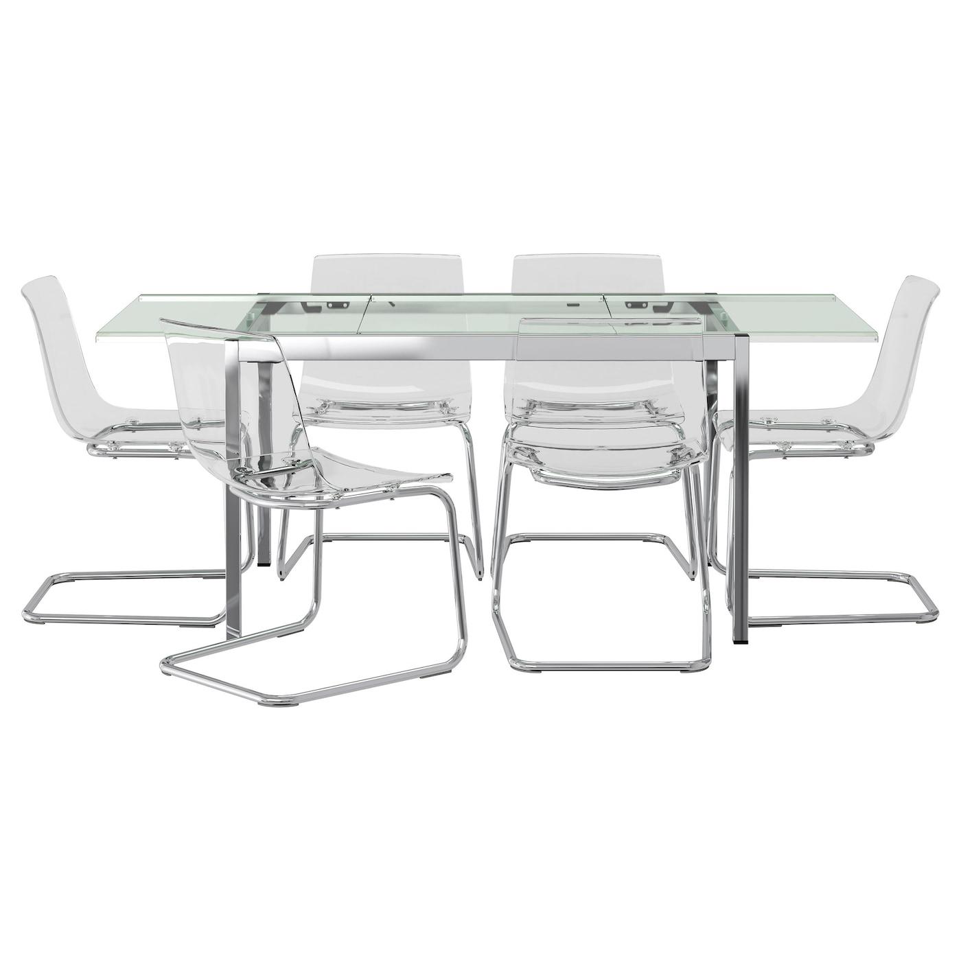 Glivarp tobias table et 6 chaises transparent transparent for Table et 6 chaises ikea
