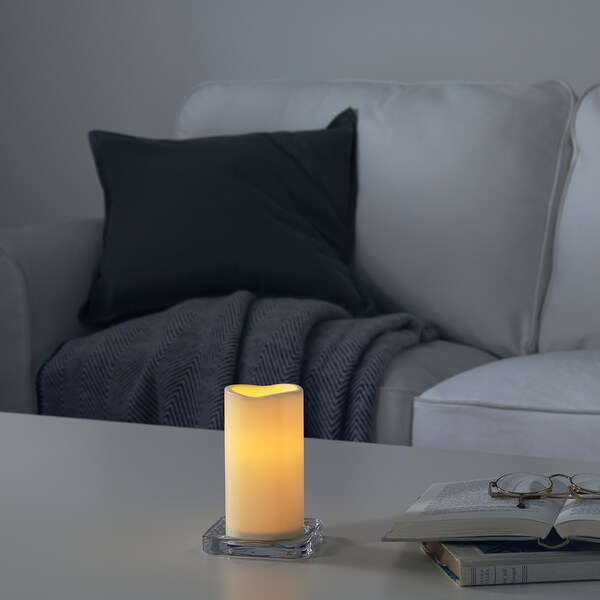 GODAFTON Bougie bloc à LED, int/ext, à pile/naturel, 14 cm
