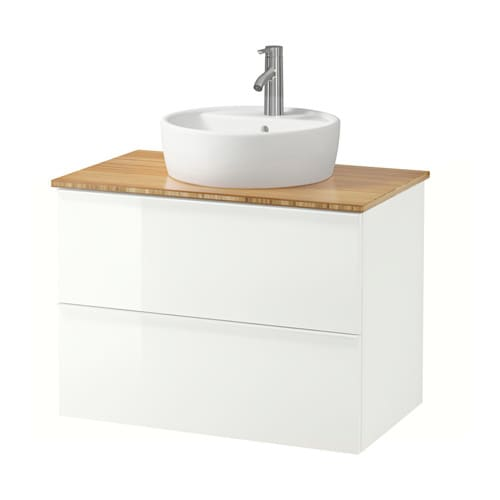 godmorgon aldern t rnviken meuble lavabo av lavabo poser 45 bambou brillant blanc ikea. Black Bedroom Furniture Sets. Home Design Ideas