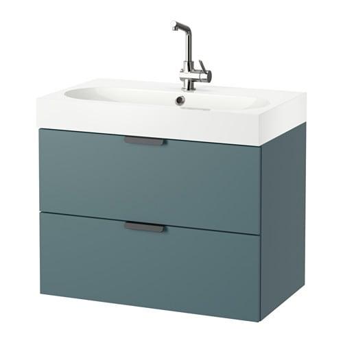 Godmorgon br viken meuble lavabo 2tir gris turquoise for Salle de bain meuble lavabo