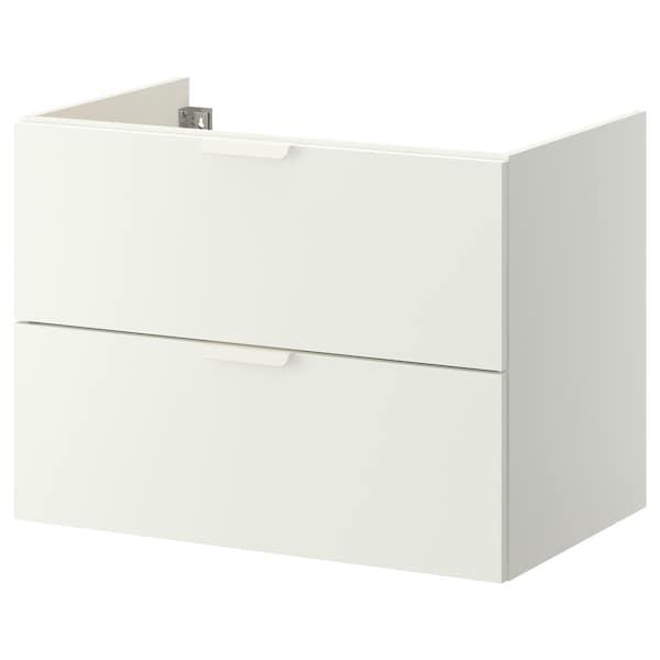 GODMORGON Meuble lavabo 2tir, blanc, 80x47x58 cm