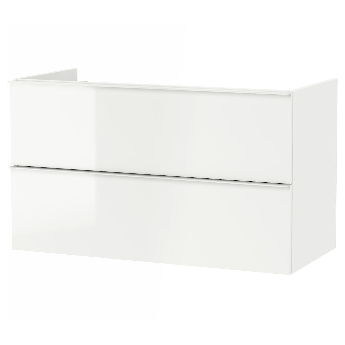 godmorgon meuble lavabo 2tir brillant blanc 100x47x58 cm. Black Bedroom Furniture Sets. Home Design Ideas