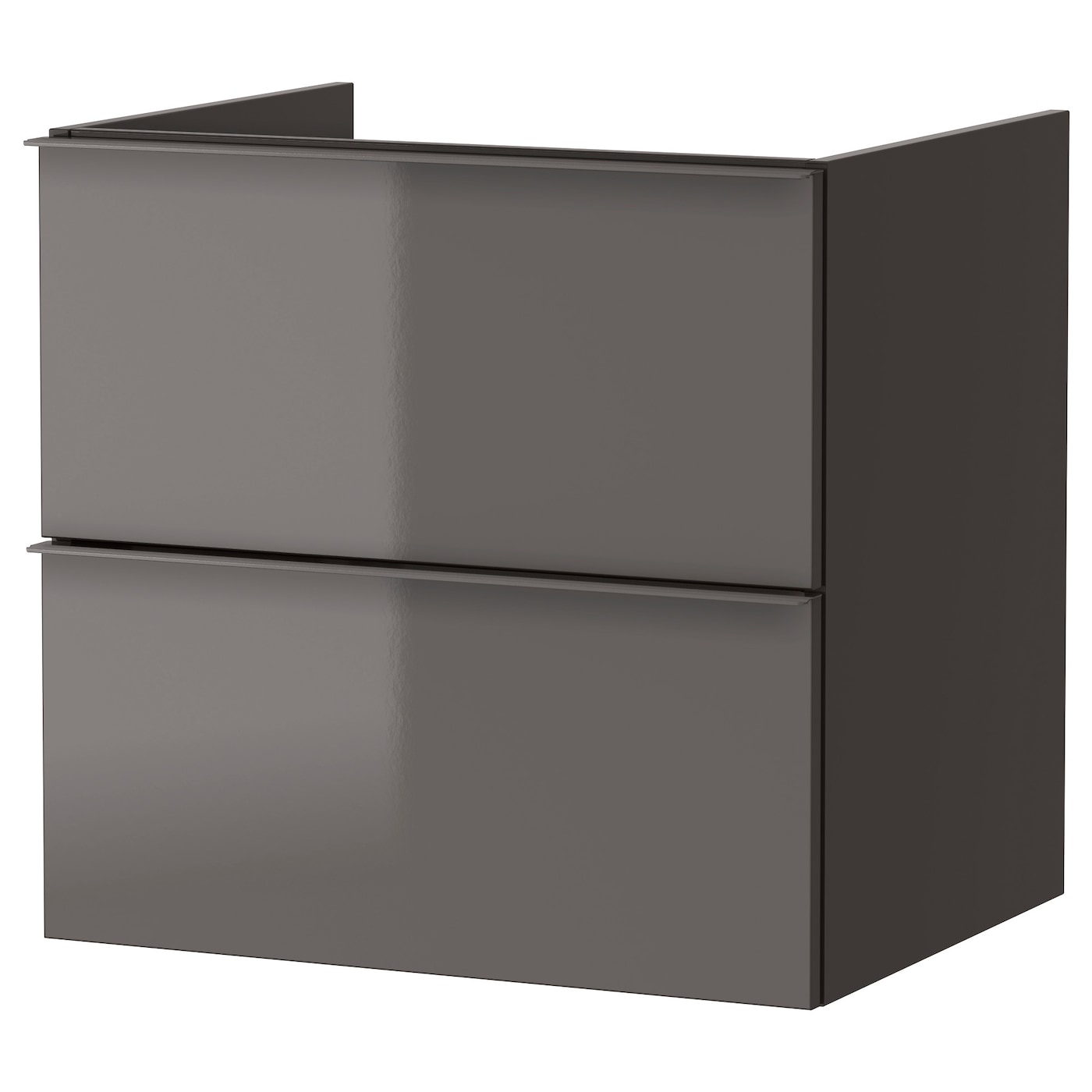 Godmorgon meuble lavabo 2tir brillant gris 60x47x58 cm ikea for Ikea meuble lavabo