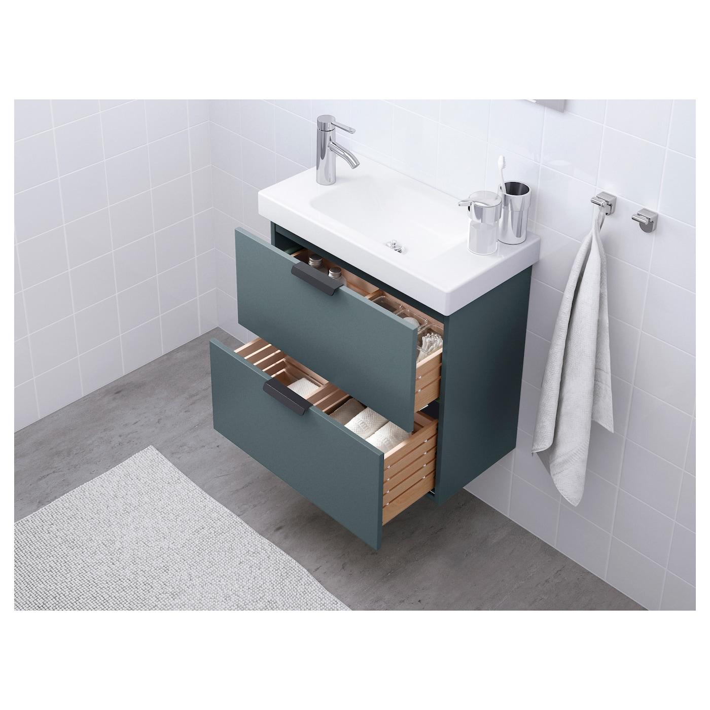 Godmorgon meuble lavabo 2tir gris turquoise 60x32x58 cm ikea for Meubles lavabo ikea
