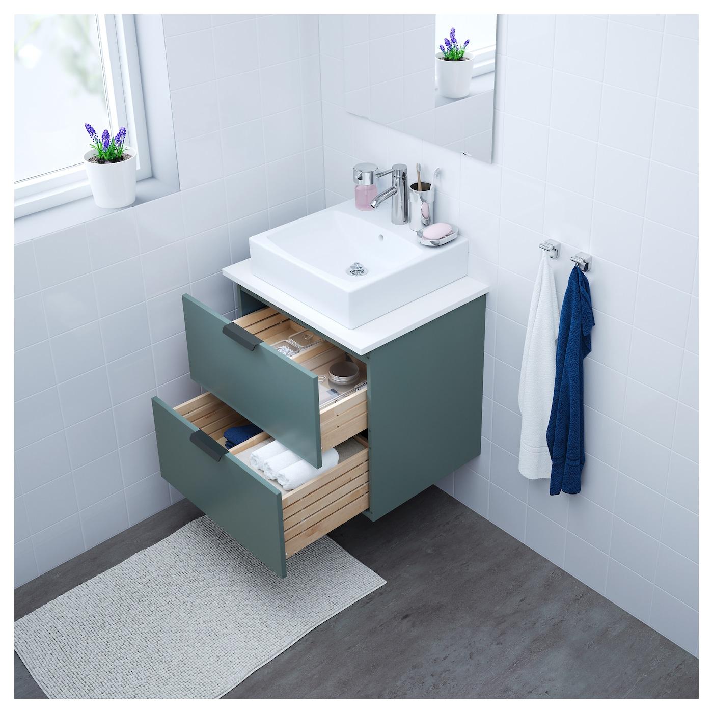 godmorgon meuble lavabo 2tir gris turquoise 60x47x58 cm ikea. Black Bedroom Furniture Sets. Home Design Ideas