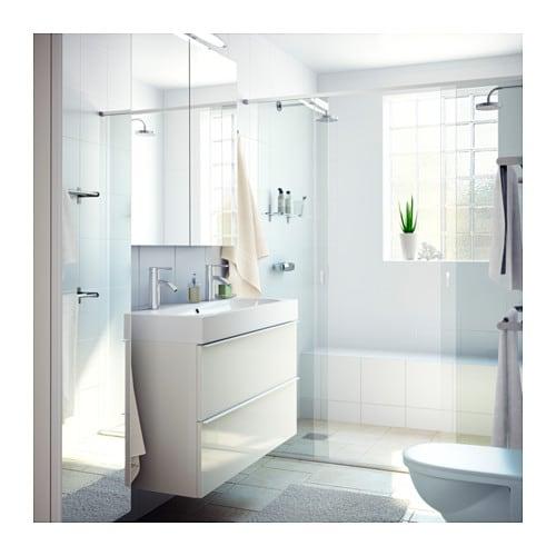 godmorgon meuble lavabo 2tir brillant gris 100x47x58 cm ikea - Interieur Meuble De Salle De Bain Ikea Godmorgon