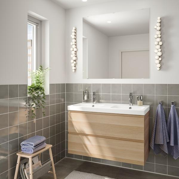 Mobilier salle de bain, 5 pièces GODMORGON / ODENSVIK effet chêne blanchi,  Dalskär mitigeur lavabo