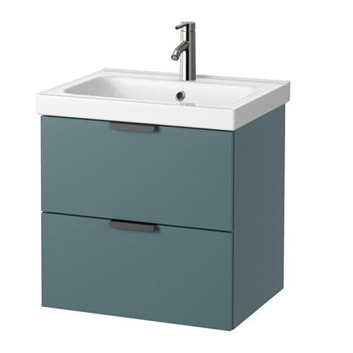 Godmorgon odensvik meuble lavabo 2tir gris turquoise for Meuble salle de bain ikea godmorgon