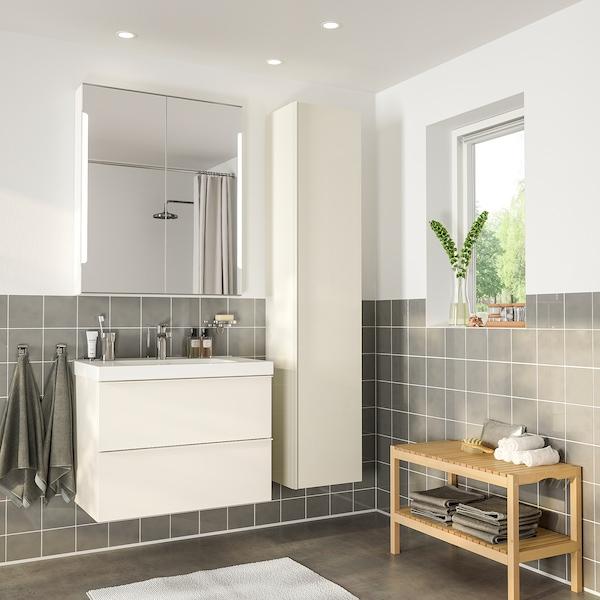 GODMORGON / ODENSVIK Mobilier salle de bain, 5 pièces, brillant blanc/mitigeur lavabo Brogrund, 83 cm