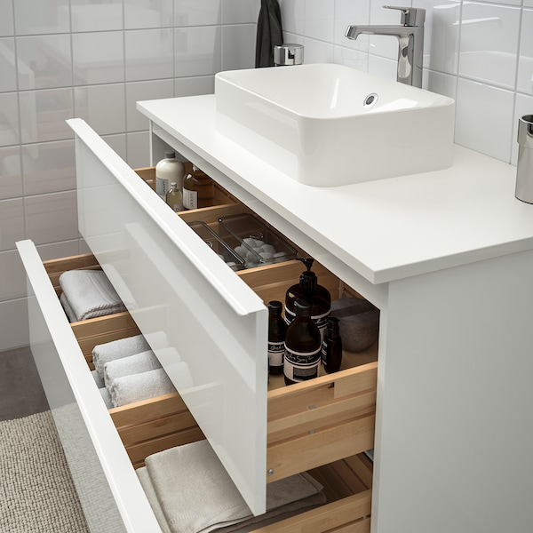 GODMORGON/TOLKEN / HÖRVIK Meuble lavabo av lav à poser 45x32, brillant blanc/blanc mitigeur lavabo Brogrund, 102x49x72 cm