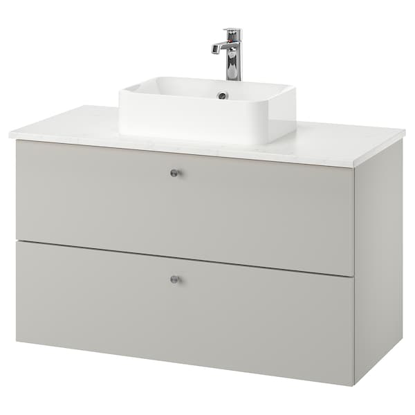 GODMORGON/TOLKEN / HÖRVIK Meuble lavabo av lav à poser 45x32, Gillburen gris clair/marbré mitigeur lavabo Brogrund, 102x49x72 cm