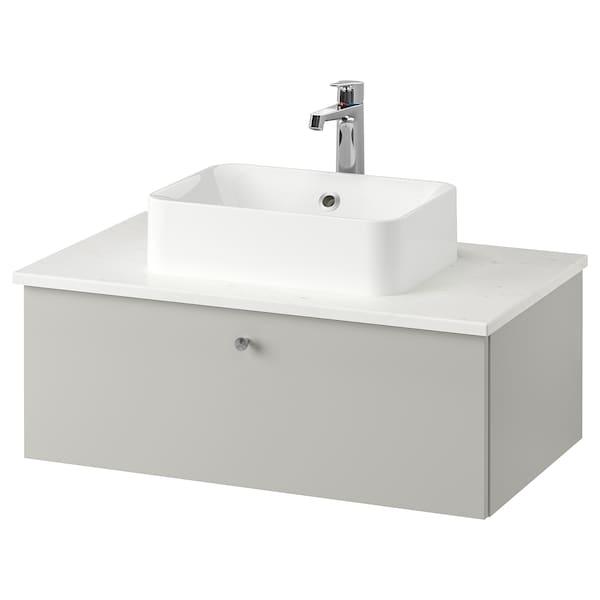GODMORGON/TOLKEN / HÖRVIK Meuble lavabo av lav à poser 45x32, Gillburen gris clair/marbré mitigeur lavabo Brogrund, 82x49x43 cm
