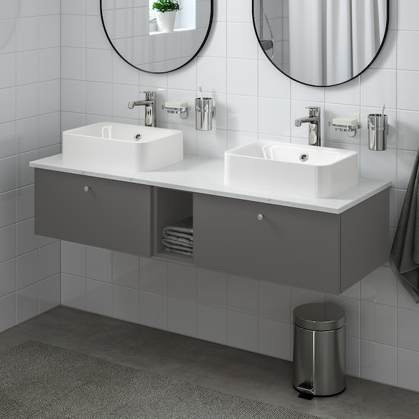 GODMORGON/TOLKEN / HÖRVIK Meuble lavabo av lav à poser 45x32, Gillburen gris foncé/marbré mitigeur lavabo Brogrund, 142x49x43 cm