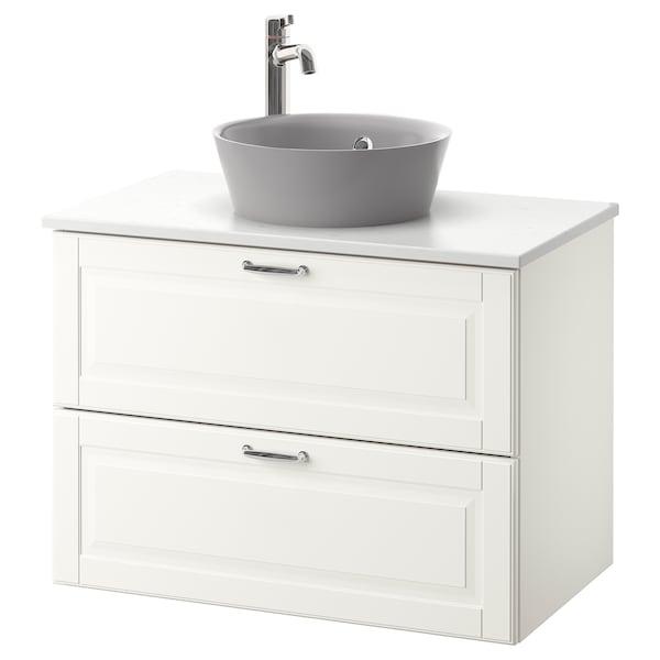 GODMORGON/TOLKEN / KATTEVIK Élément lavabo avec lavabo à poser, Kasjön blanc/marbré Voxnan mitigeur lavabo, 82x49x75 cm