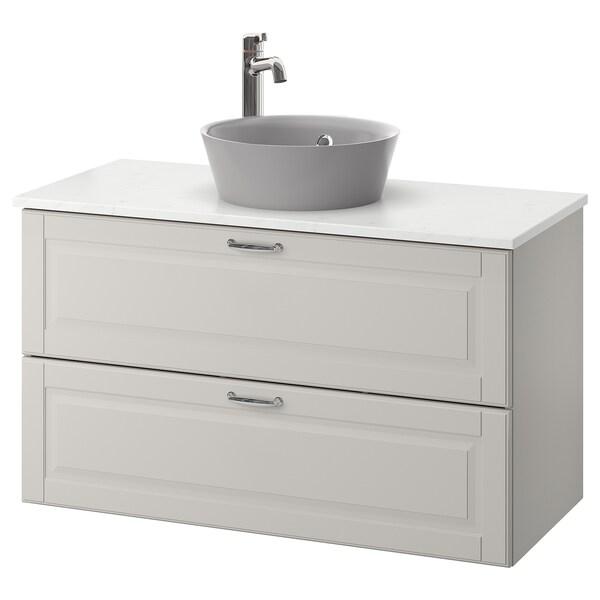 GODMORGON/TOLKEN / KATTEVIK Élément lavabo avec lavabo à poser, Kasjön gris clair/marbré Voxnan mitigeur lavabo, 102x49x75 cm