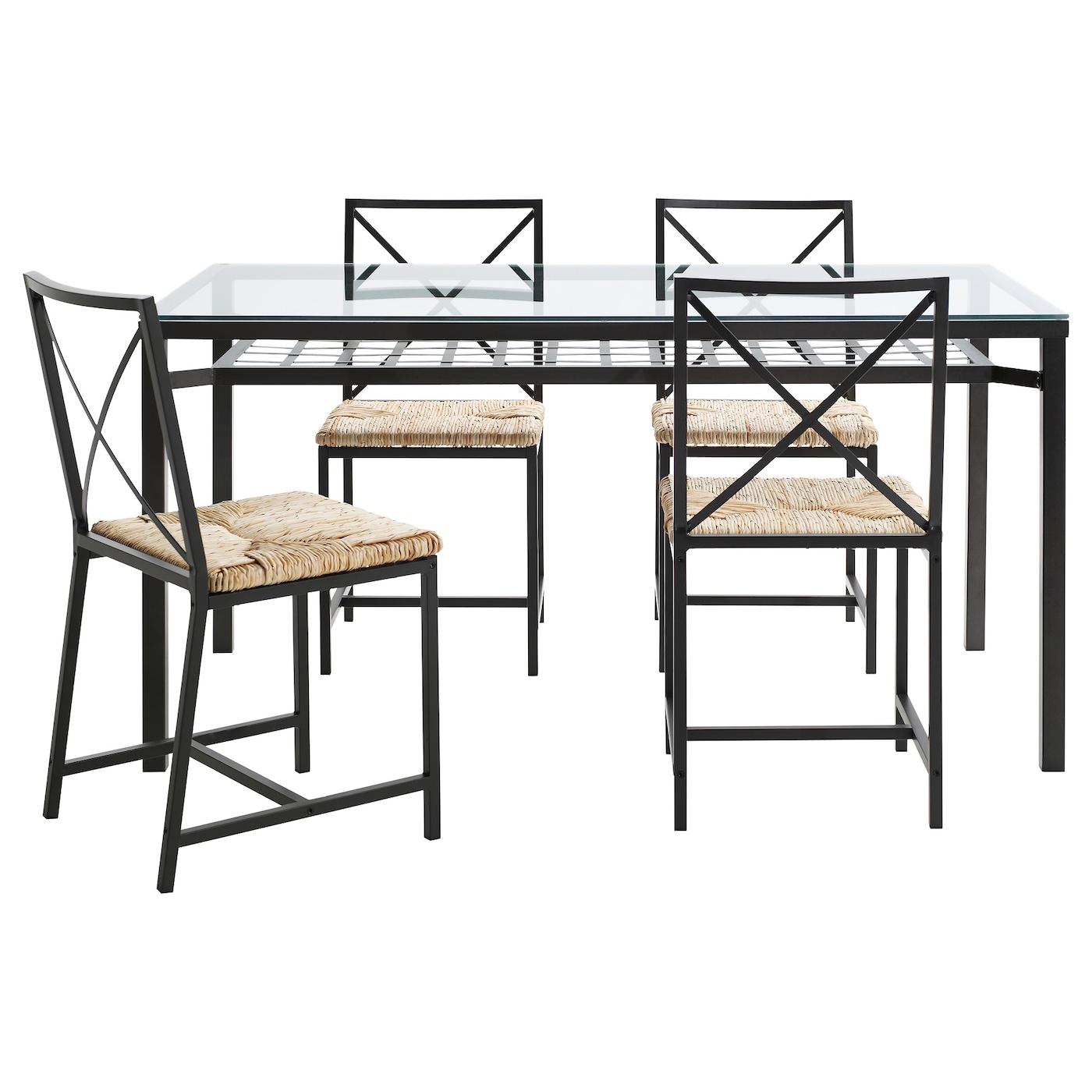 gran s table et 4 chaises noir verre ikea. Black Bedroom Furniture Sets. Home Design Ideas