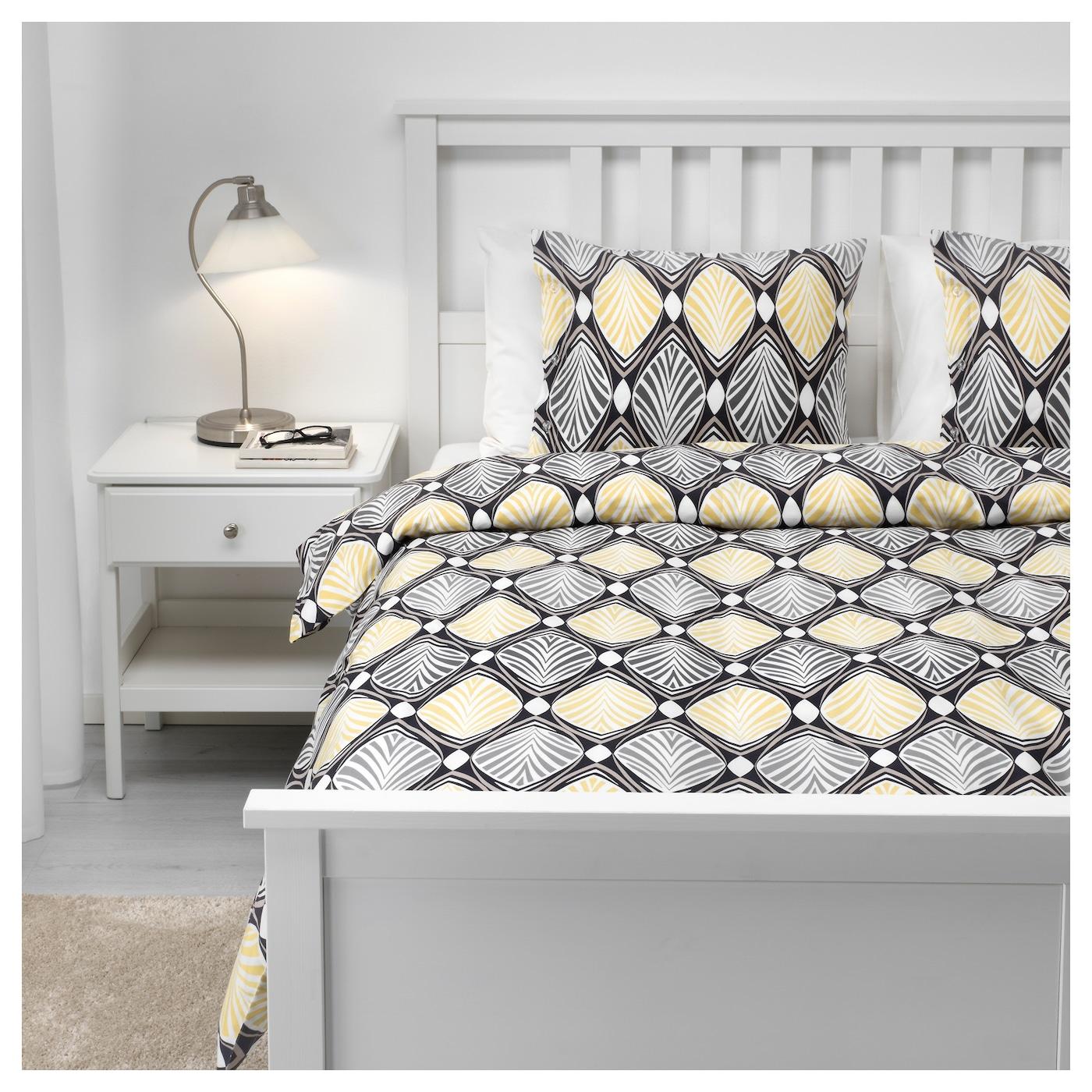 h stfibla housse de couette et 2 taies gris jaune 240x220. Black Bedroom Furniture Sets. Home Design Ideas