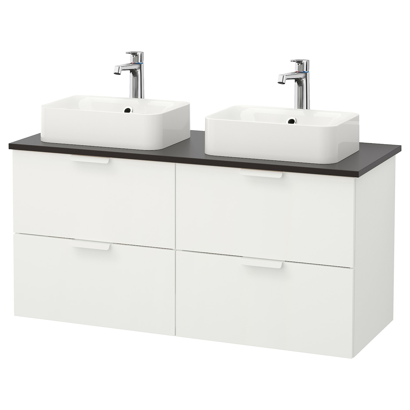 h rvik godmorgon tolken meuble lavabo av lav poser 45x32 blanc anthracite 122x49x72 cm ikea. Black Bedroom Furniture Sets. Home Design Ideas