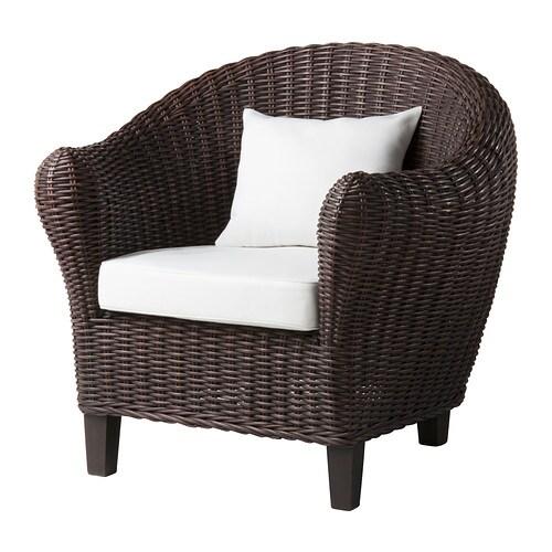 Harads fauteuil avec coussin brun noir ikea - Fauteuil en osier ikea ...