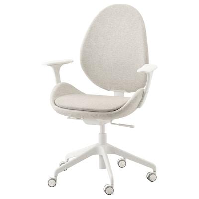 HATTEFJÄLL Chaise de bureau av accoudoirs, Gunnared beige/blanc