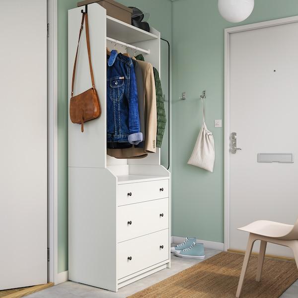 HAUGA Armoire ouverte avec 3 tiroirs, blanc, 70x199 cm
