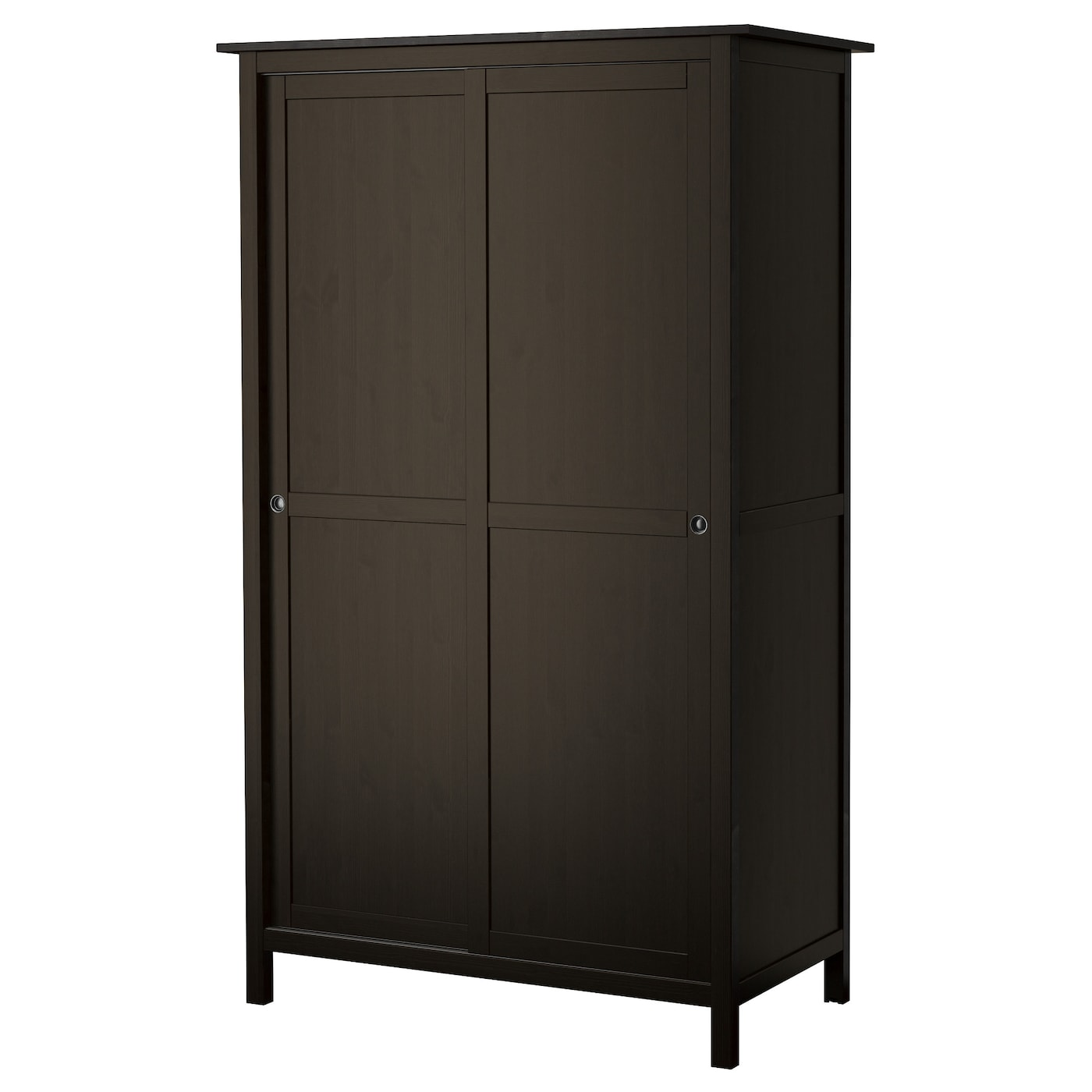 hemnes armoire 2 portes coulissantes brun noir 120x197 cm. Black Bedroom Furniture Sets. Home Design Ideas