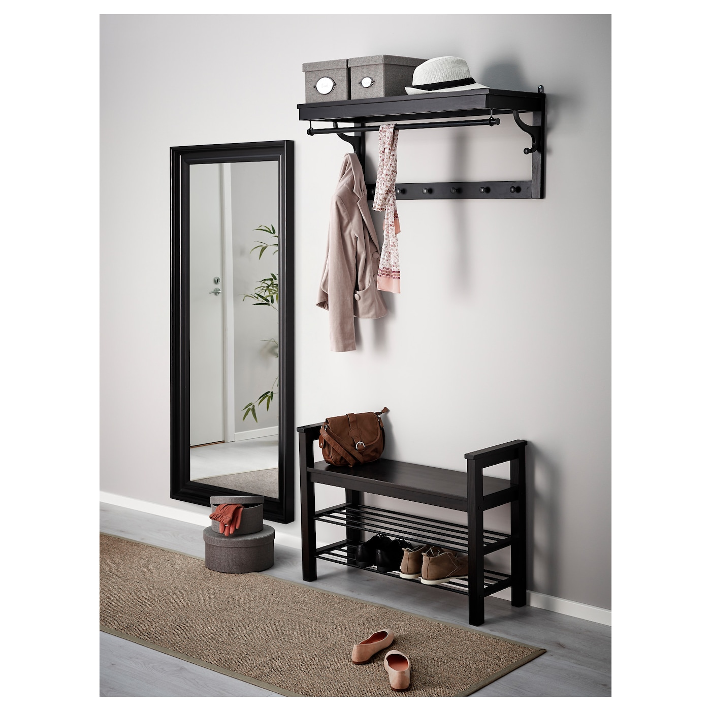 hemnes banc avec rangement chaussures brun noir 85x32 cm ikea. Black Bedroom Furniture Sets. Home Design Ideas