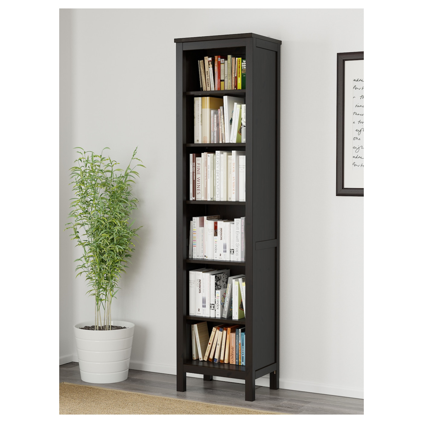 hemnes biblioth que brun noir 49x197 cm ikea. Black Bedroom Furniture Sets. Home Design Ideas