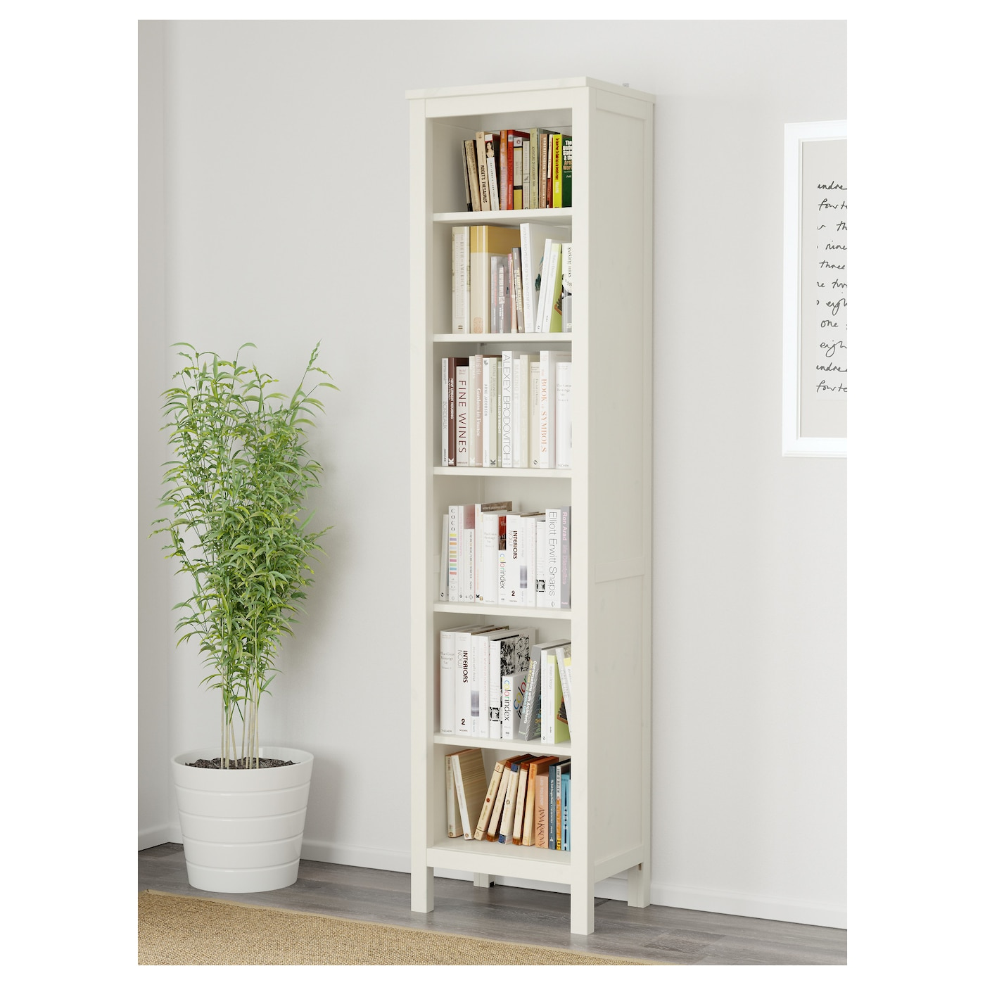 hemnes biblioth que teint blanc 49x197 cm ikea. Black Bedroom Furniture Sets. Home Design Ideas