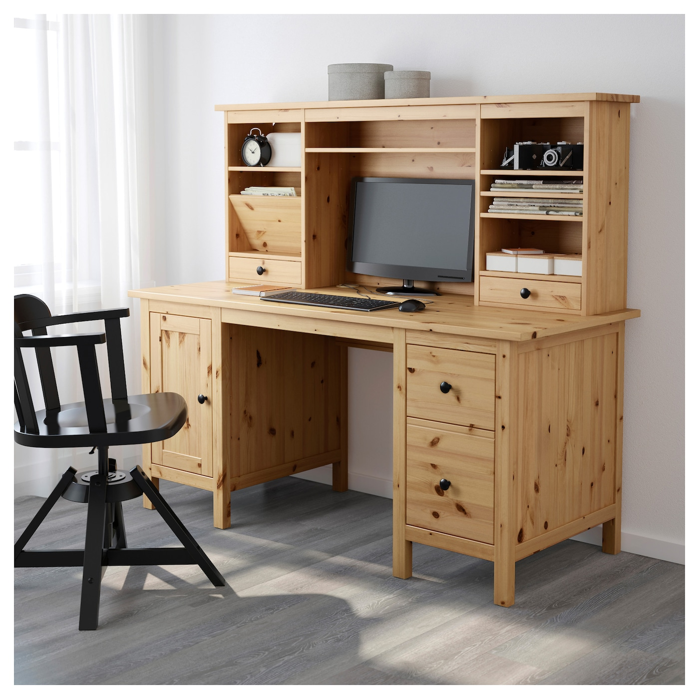 hemnes bureau avec l ment compl mentaire brun clair 155x137 cm ikea. Black Bedroom Furniture Sets. Home Design Ideas