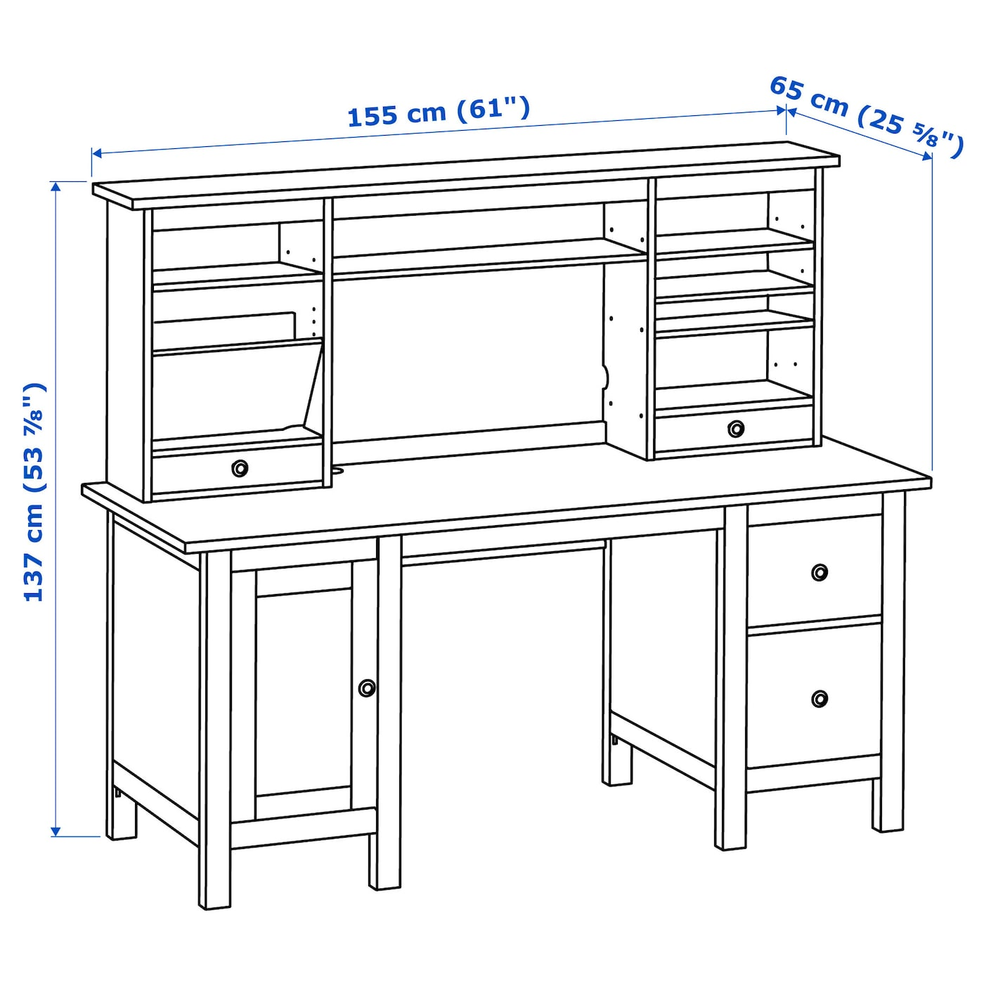 hemnes bureau avec l ment compl mentaire brun clair 155 x 137 cm ikea. Black Bedroom Furniture Sets. Home Design Ideas