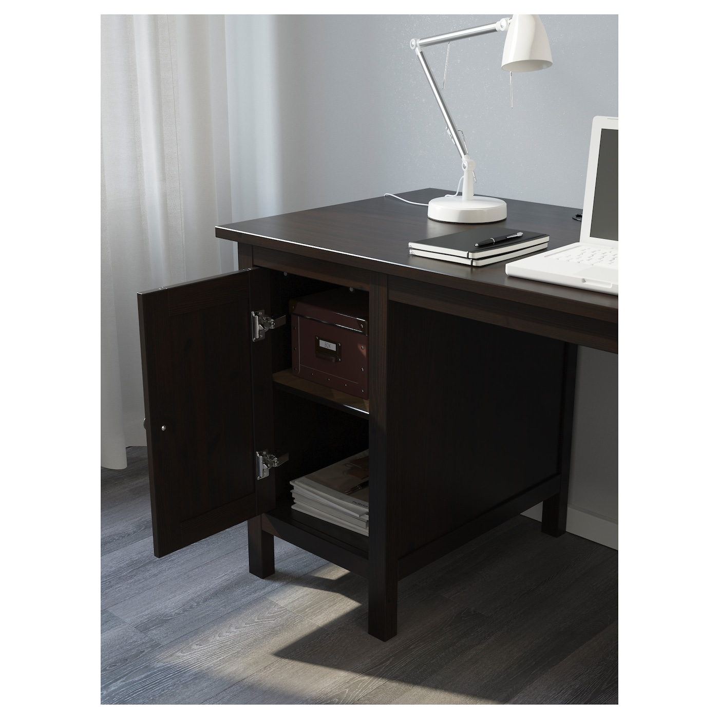 hemnes bureau brun noir 155x65 cm ikea. Black Bedroom Furniture Sets. Home Design Ideas