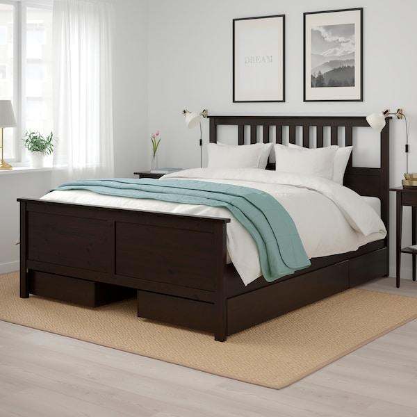 HEMNES Cadre de lit+4boîtes de rangement, brun noir/Lönset, 180x200 cm