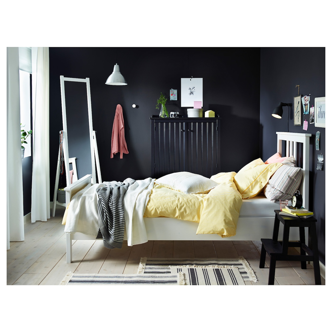 hemnes cadre de lit teint blanc 90x200 cm ikea. Black Bedroom Furniture Sets. Home Design Ideas